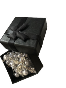 Beautiful White Heart Rosary Beads In Black Gift Box -Perfect First Xmas Baptism