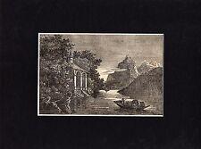 Antique matted print :William Tell chapel / holzstich Tellskapelle Schweiz 1835