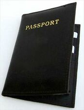 BLACK WORLD PASSPORT COVER Travel Leather ID Credit Card Holder PP1 Glossy New
