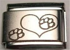 HEART PAWS DOG CAT RARE AUTHENTIC LASER ITALIAN CHARM 9MM CLASSIC FOR BRACELETS