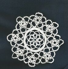 TATTED PAIR 6 inch WHITE HANDMADE DOILIES (2 Doilies) FLOWER PATTERN