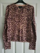 Next Fine Print Cardigan Size 10 Multicolour Animal Print Round Neck Long Sleeve