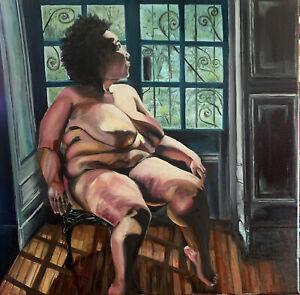 Print / OIL PAINTING, Nude, African American Woman BBW, Heavy Black Female 16*16