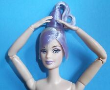 NUDE LAVENDAR HAIR MACKIE HYBRID-RE-BODIED ARTICULATED BARBIE FREE SHIPPING