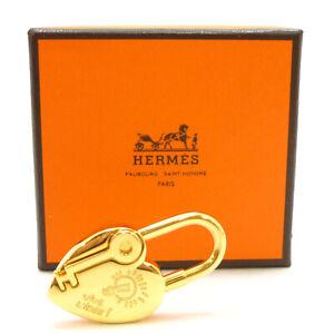 Auth HERMES ANNEE DE LA FANTAISIE Vive L'ldee Heart Cadena 2004 Gold #K412088