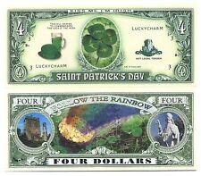 TREFLE à 4 FEUILLES - BILLET PORTE-BONHEUR! CHANCE Arc en Ciel Million Dollar us
