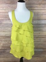 ELLE women's casual lime green ruffled front sleeveless blouse size medium, A3