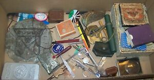 LOT VINTAGE RETRO JUNK DRAWER ITEM DUCK CALL SEWING NOTIONS LIGHT METER MWA SIGN