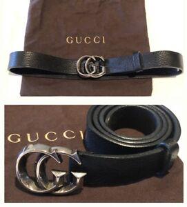 authentic Gucci GG Buckle Leather Belt Unisex