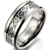Silver Celtic Dragon Titanium Stainless Steel Men Wedding Fashion Band Ring Gift