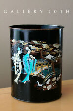 RARE! MID CENTURY PAINTED JAPANESE WASTEBASKET! ATOMIC DECOR VTG 50'S BLACK