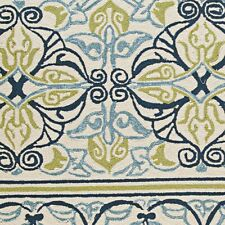 "Couristan Covington Pegasus Ivory & Navy & Lime Indoor/Outdoor Rug, 2'6""x8'6"" Rn"