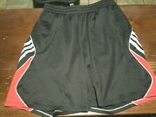 Men's Adidas Basketball Athletic Gym Shorts Black Red Workout 3-Stripe Sz Small