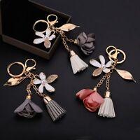 Charm Car Women Bag Tassel Cute Crystal Key Ring Flower Key Chain Keychain