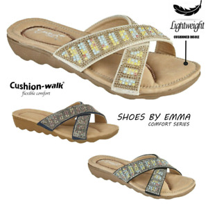 Womens Ladies Sliders Cross Over Beaded Sandals Summer Party Travel Mules Sizes