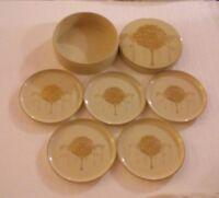 OTAGIRI Coasters JAPAN Set 5 Round Box Golden Mist Ivory Tree Vintage RARE