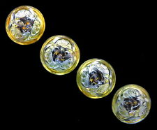 3 Czech Glass Buttons 3 Interlocking Fan Flowers Olive Lime Green 3 Fan Design