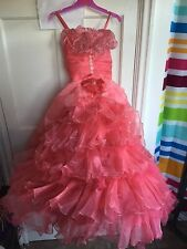 CINDERELLA PRINCESS PEACH PARTY WEDDING BRIDESMAID FRILL DRESS NET prom AGE 7 8