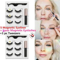 3 Pairs 3D Magnetic False Eyelashes With Liquid Eyeliner Tweezers Eyelashes Set.