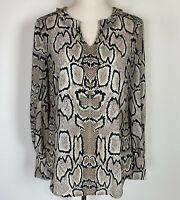 Cabi Womens Serpentine Top Snake Print Tan Black Oversized Blouse #3759 Small