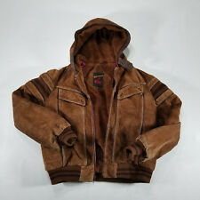 Geronimo Men's Suede Leather Hooded Dark Brown Jacket Size 42 Sherpa Lined VTG