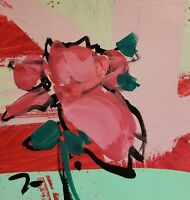 """JOSE TRUJILLO Acrylic Painting 6x6"""" Modernism PINK Flower Contemporary Abstracts"""