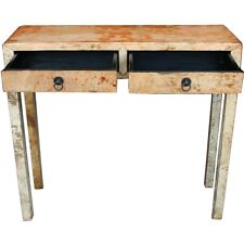 Chinese Antique Furniture - Distressed Leather Wrapped Beige Hall Table (38-004)