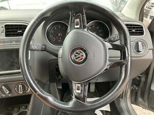 VW POLO 6C 2017 MULTIFUNCTION STEERING WHEEL WITH AIRBAG FLAT BOTTOM LEATHER
