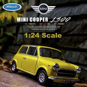 Mr.Bean Mini Cooper 1300 Yellow Car 1:24 Simulation Metal Vehicle Model By Welly