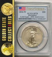 2016 W $50 BURNISHED GOLD EAGLE 30TH ANNIV, PCGS SP70 FIRST STRIKE  SOLD OUT  !