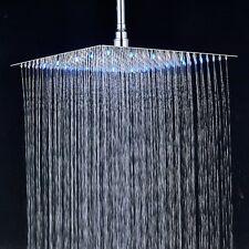 Chrome 16'' Shower Head Top Rain LED Rotate Shower Faucet Ultra Thin Shower Arm