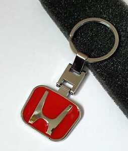 Chrome and Red Keyring Stylish Keyfob Alloy Honda CR Civic CR-V