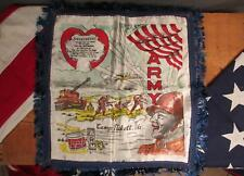 Vintage WWII US Army Camp Fort Pickett,VA. Forget Me Not Sweetheart Handkerchief