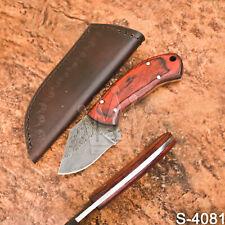 "Stunning 5.5"" Wazirabad's Handmade Damascus Steel Hard Wood Skinner Knife-Sheath"