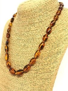 Amber NECKLACE Natural BALTIC Amber Beans Beads Knotted Gift Jewelry 16,1g 15392