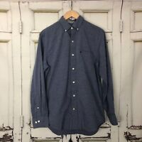 MEN'S IZOD Button-Down Dress Shirt sz S blue long sleeve cotton collared