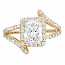 2.10ct Emerald Cut Criss Cross Halo Solitaire Engagement Wedding Ring14k White