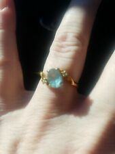 14kt GF Ring Size 7 Ring With Blue And Clear Stones