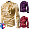 Men Faux Silk Satin Ruffle Shirt Tops Long Sleeve Fancy Costume Victorian Retro