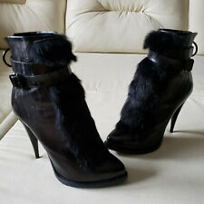 Givenchy Black Eel Buckled Rabbit Fur Ankle Boots 39.5 not Foldover Shark Lock