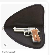 Gun Storage Padded Black Pistol Soft Rug Case w/ Zippered Carry Pouch Bag