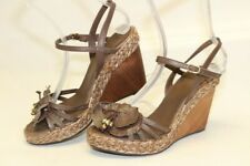 Geox Respira Womens 39 9 Brown Leather Ankle Strap Wedge Sandals Heels Shoes