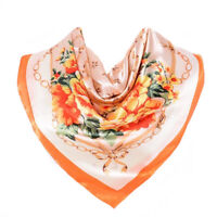 Foulard 90 X 90 cm 100% Soie Fleurs Orange Pivoine SILK SCARF séide Flower Peony