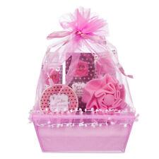 5 Piece Deluxe Pretty Rose Garden Body and Bath Pink Organza Basket Gift Set