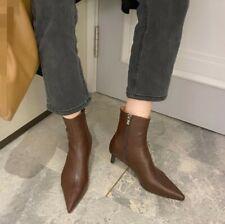 Fashion Women Ankle Boots Elegant Kitten Heel Side Zip Booties Pointed Toe Shoes