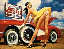 "Tin Sign ""Hot Damsel in Distress"" Pinup Babe Deco Garage Wall Decor"