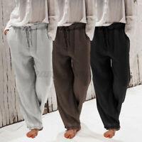 Ladies Plus Size Cotton Palazzo Trousers Baggy Wide Leg Pants Drawstring UK 8-26