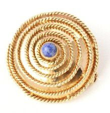 Antique / Vintage 18ct Gold Filigree & Lapis Lazuli Round Brooch. Gift Boxed.
