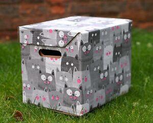 Decorative Storage Boxes Cats Cardboard Box Organiser Archive L Large