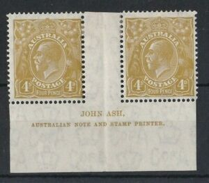 G717) Australia 1933 C of A watermark KGV 4d Olive N over N Ash imprint pair BW